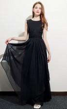 Black Short Sleeve Junior Bridesmaid Dress Girls Birthday Party Dress JFGD066