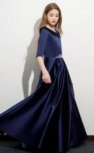 Dark Blue Satin Half Sleeved Child Prom Dress Girls Birthday Party Dress JFGD069