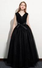 Black V neck Junior Formal Dress Girls Birthday Party Dress JFGD070
