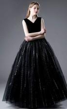 Black Tulle V neck Junior Formal Dress Girls Birthday Party Dress JFGD073