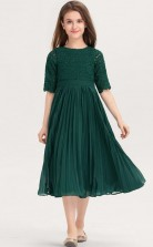 Dark Green Lace Chiffon Tea Length Child Bridesmaid Dress Flower Girl Dress JFGD075