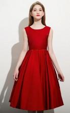 Burgundy Satin Tea Length Child Bridesmaid Dress Flower Girl Dress JFGD076