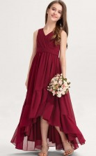 Burgundy Chiffon High low Child Bridesmaid Dress Flower Girl Dress JFGD078