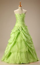 Sage Taffeta Organza Ball Gown Sweetheart Sleeveless Prom Ball Gowns(JT4-JMC70)