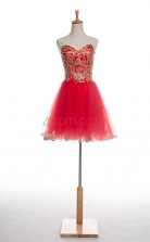 Red Tulle A-line Sweetheart Sleeveless Cocktail Dress(JT4-JMD0016)