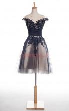 Black Taffeta Tulle Lace A-line Illusion Short Sleeve Cocktail Dress(JT4-JMD0017)
