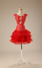 Red Lace Tulle Trumpet/Mermaid Scoop Short Sleeve Cocktail Dress(JT4-JMD0025)