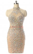 Champange Tulle Sequined Sheath/Column Halter Sleeveless Cocktail Dress(JT4-JMD56)
