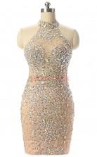Champange Tulle Sequined Sheath/Column Halter Sleeveless Cocktail Dress(JT4-JMD56)