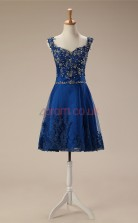 Blue Lace Tulle A-line Straps Sleeveless Cocktail Dress(JT4-JMD124)