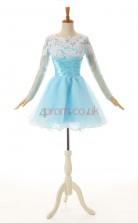 Sky Blue Lace Organza A-line Jewel Long Sleeve Cocktail Dress(JT4-JMD160)
