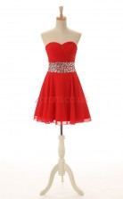 Red Lace Tulle A-line Sweetheart Sleeveless Cocktail Dress(JT4-JMD161)