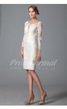 Sheath Illusion 3/4 Length Sleeve Knee-length White Lace , Satin Bridal Evening Gown (PRJT04-1813)