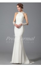 Mermaid Halter Long Sleeve Sweep Train White 100D Chiffon Bridal Evening Gown (PRJT04-1815)