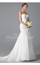 Mermaid Sweetheart Sweep Train White 100D Chiffon Bridal Evening Gown (PRJT04-1816)