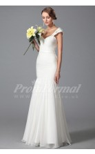 Mermaid Straps Short Sleeve Long White 100D Chiffon Bridal Evening Gown (PRJT04-1818)