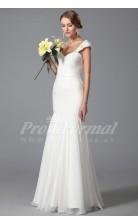 Mermaid Straps Short Sleeve Long White 100D Chiffon Bridal Evening Gown (PRJT04-1818)