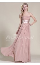 A-line Strapless Long Nude Pink 100D Chiffon Evening Dresses(PRJT04-1819)