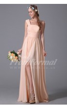 A-line One Shoulder Long Pearl Pink 100D Chiffon Evening Dresses(PRJT04-1821)