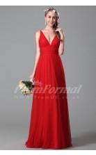 A-line V-neck Long Red Tulle Evening Dresses(PRJT04-1824)