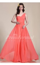A-line One Shoulder Long Watermelon 100D Chiffon Evening Dresses(PRJT04-1825)