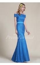 Mermaid Off The Shoulder Short Sleeve Long Light Royal Blue Lace Evening Dresses(PRJT04-1827)