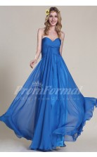 A-line Sweetheart Long Light Royal Blue 100D Chiffon Evening Dresses(PRJT04-1829)