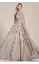 A-line Jewel Long Gainsboro 100D Chiffon Evening Dresses(PRJT04-1832)