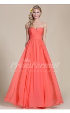 A-line Sweetheart Long Wathermelon 100D Chiffon Evening Dresses(PRJT04-1833)