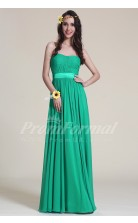 A-line Strapless Long Jade 100D Chiffon Evening Dresses(PRJT04-1834)