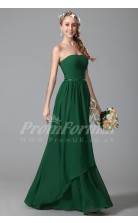 A-line Strapless Long Dark Green 100D Chiffon Evening Dresses(PRJT04-1835)