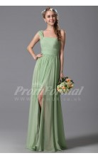 A-line One Shoulder Long Midium Sea Green 100D Chiffon Evening Dresses(PRJT04-1836)