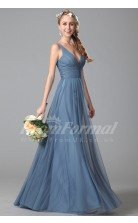 A-line V-neck Long Lavender Tulle Evening Dresses(PRJT04-1839)