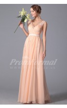 A-line V-neck Long Pink 100D Chiffon Prom Dresses(PRJT04-1842)