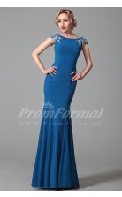 Mermaid Bateau Short Sleeve Long Light Royal Blue Satin Chiffon Prom Dresses(PRJT04-1843)