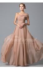 A-line One Shoulder Short Sleeve Long Nude Pink 100D Chiffon Prom Dresses(PRJT04-1846)
