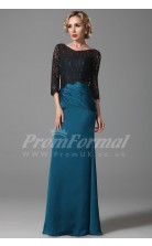 Sheath Bateau 3/4 Length Sleeve Long Steel Blue Charmeuse , Lace Prom Dresses(PRJT04-1848)