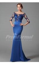 Mermaid Off The Shoulder Half Sleeve Sweep Train Light Royal Blue Charmeuse , Lace Prom Dresses(PRJT04-1849)
