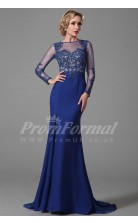 Mermaid Bateau 3/4 Length Sleeve Sweep Train Royal Blue 100D Chiffon Prom Dresses(PRJT04-1852)