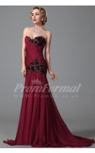 Mermaid Sweetheart Sweep Train Burgundy 100D Chiffon Prom Dresses(PRJT04-1853)