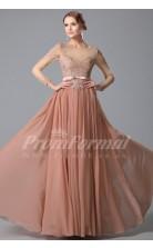 A-line Bateau 3/4 Length Sleeve Long Nude Pink Lace , Chiffon Prom Dresses(PRJT04-1856)