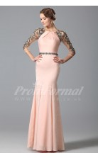 Mermaid Jewel 3/4 Length Sleeve Long Pink Lace , Chiffon Prom Dresses(PRJT04-1859)