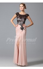 Mermaid Scoop Short Sleeve Long Pearl Pink Lace , Chiffon Prom Dresses(PRJT04-1860)