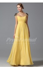 A-line Square Short Sleeve Long Yellow 100D Chiffon Prom Dresses(PRJT04-1862)