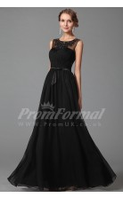 A-line Illusion Long Black 100D Chiffon Prom Dresses(PRJT04-1863)