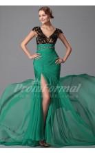 Mermaid V-neck Short Sleeve Long Jade Velvet Chiffon Prom Dresses(PRJT04-1868)