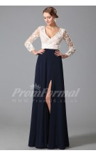 A-line V-neck 3/4 Length Sleeve Long Navy Blue Lace , Chiffon Prom Dresses(PRJT04-1869)