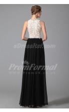 Sheath Jewel Long Black Lace , Chiffon Prom Dresses(PRJT04-1870)