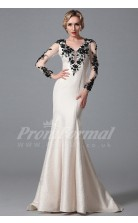 Mermaid V-neck 3/4 Length Sleeve Long Ivory Satin Prom Dresses(PRJT04-1875)