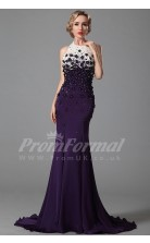Mermaid Halter Sweep Train Purple Satin Chiffon Prom Dresses(PRJT04-1876)